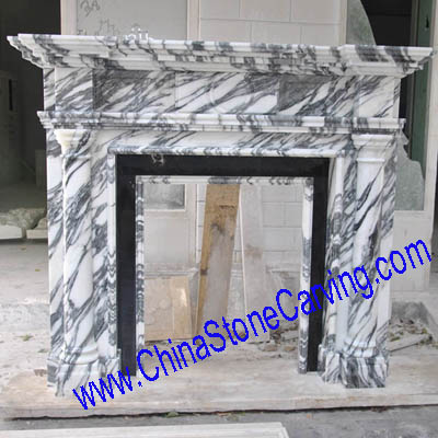 white cararra marble fireplace