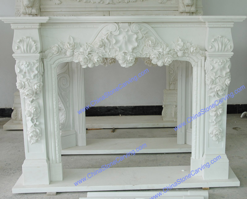 Beijing white marble fireplace