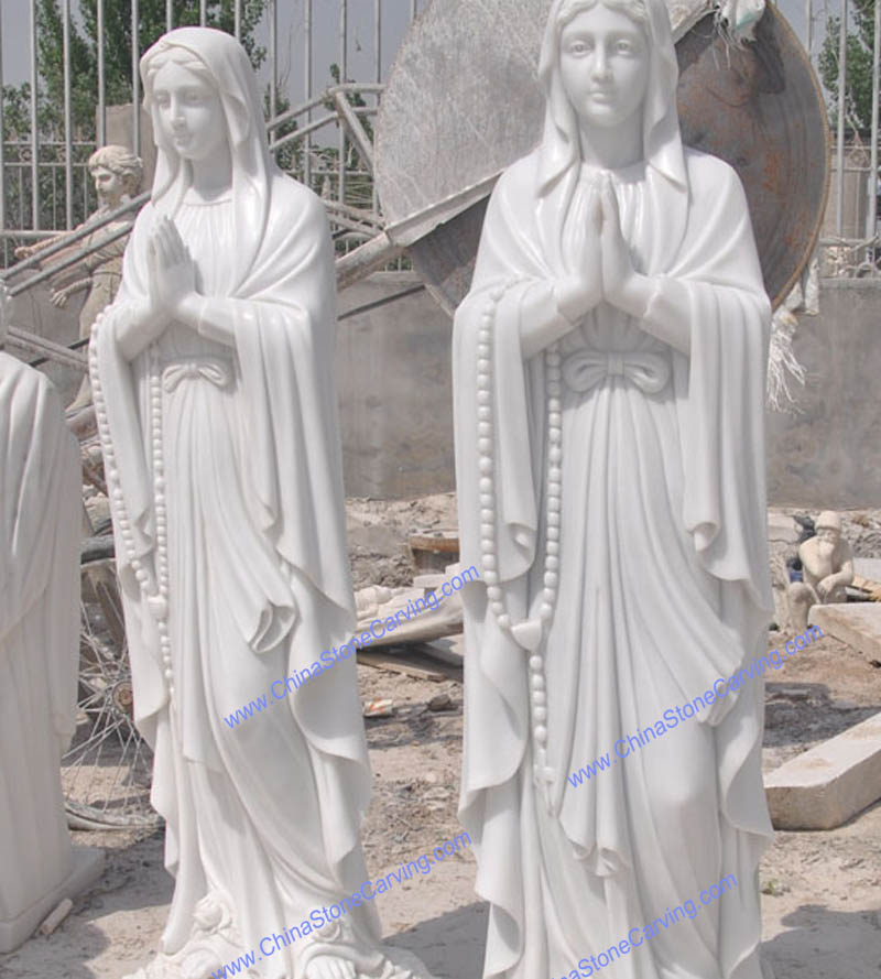 white marble mary statue
