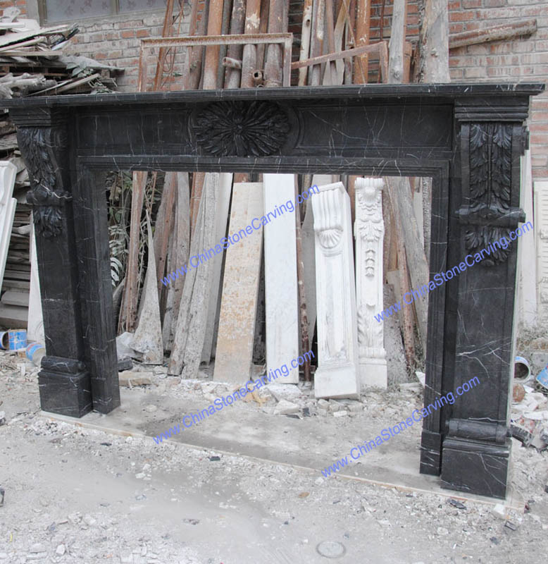 black marquina marble fireplace