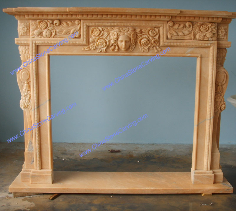 sunset red marble fireplace