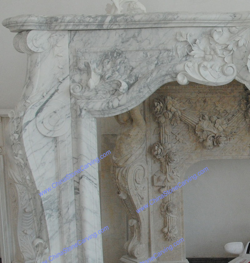 cararra white marble fireplace