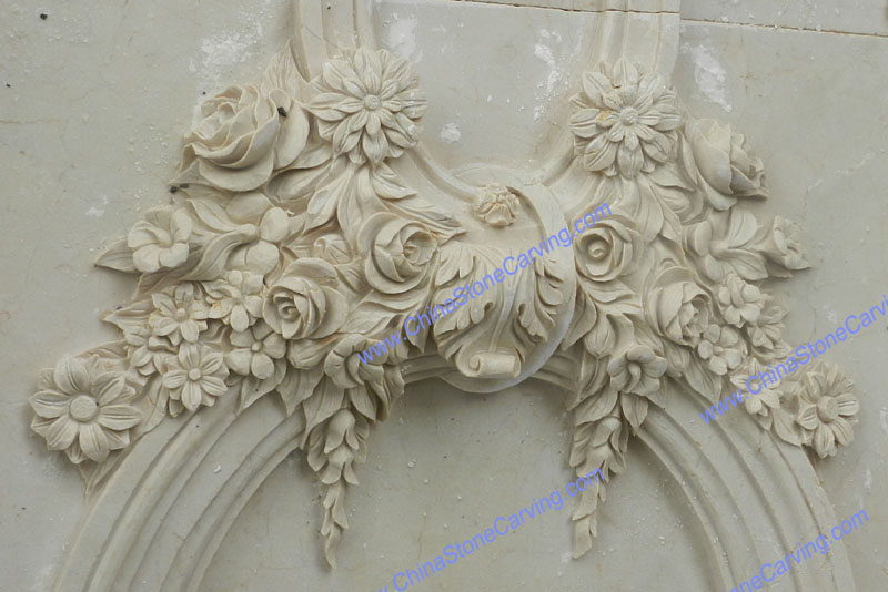 cream marfil marble carving